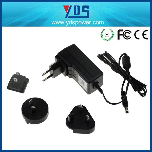 Alibaba china manufacturer 5V 1A 2A 12V 1A 1.5A 2A wall ac dc power adapter with universal interchangeable plug EU, UK, US, AU