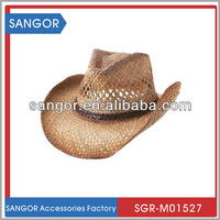 Tea Stained Raffia Cowgirl Hat With PU Braid Band