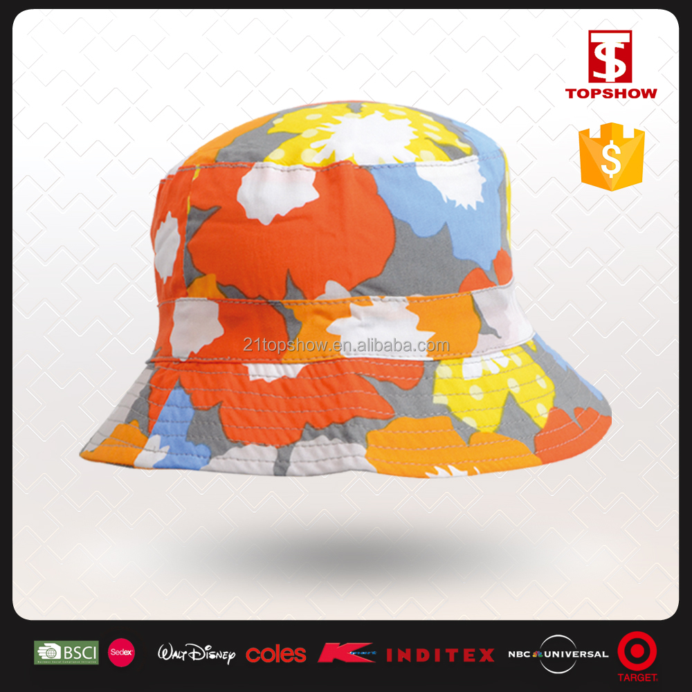 cotton floral printed custom bucket hat for parents and child