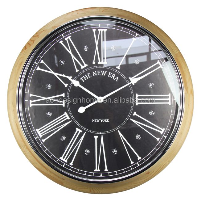 """THE NEW ERA""IRON/WOODEN/GLASS WALL CLOCK"