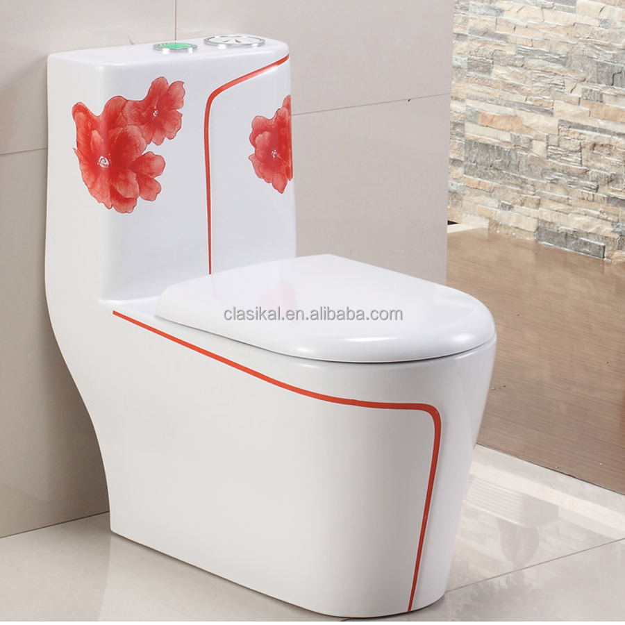 106C handmade red rose drawing siphonic one piece ceramic toilet