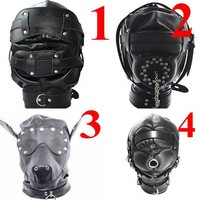 New Leather Bondage Padded Adjustable Harness Full Hood Open Mouth Locking Mask Sex Toys For Couple Adult Games