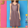 Custom silk pleated retro vintage beaded dress