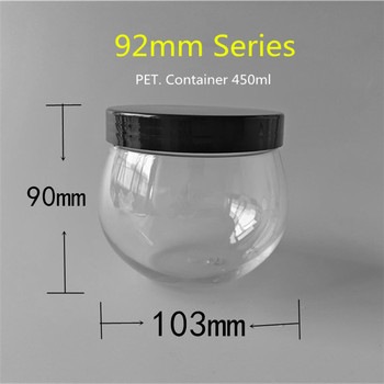 450ml Clear Round Plastic Medical Containers With 92mm Series Black Screw Cap