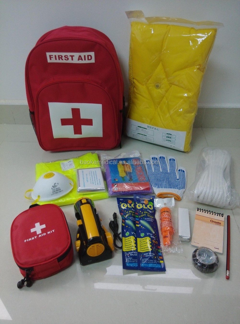 BK-E01 backpack type disaster survival first aid kit