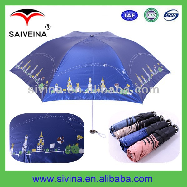 Standard Size Beach Umbrella Fashion 21 Inches 3 Folding UV Anti Umbrella