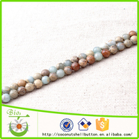 Free sample offered 6mm round shape natural shoushan stone loose beads