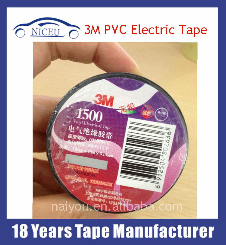 High voltage 3M /1500/1600 Vinyl Electrical Insulation PVC non Adhesive Tape
