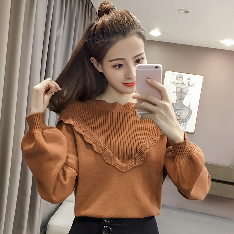 spring high neck cotton lantern sleeve girl long sleeve japan fashion design woman sweater