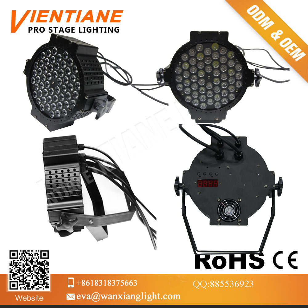 New price 54pcs 3w high quality DMX 512 control RGBW Aluminum led flat par light led stage light Dj bar lighting