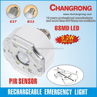 rechargeable high quality SMD led bulb with sensor motion