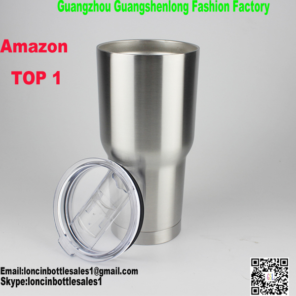 Amazon hot selling 2016 new double wall stainless steel 18/8 insulated cold tumbler with sliding lid,30oz powder coating cup