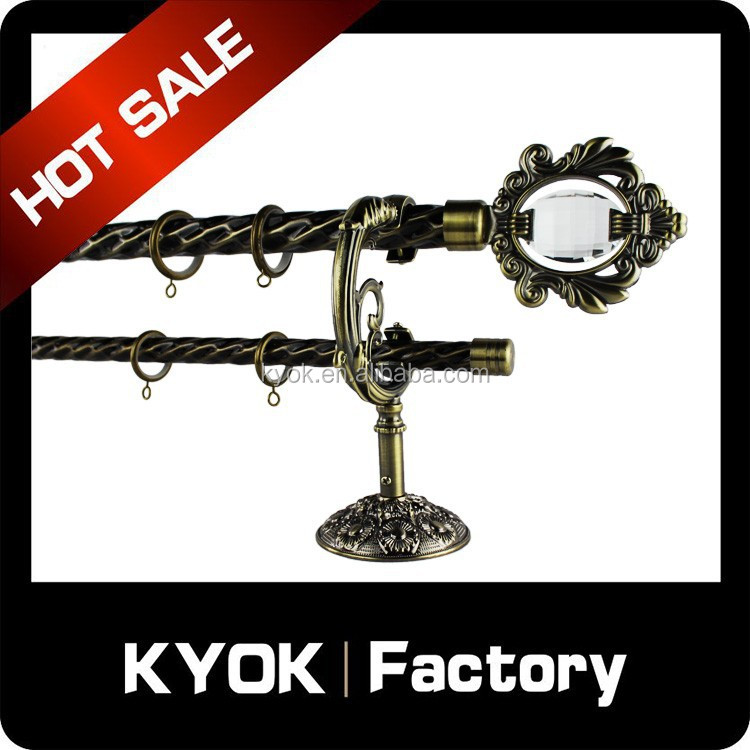 KYOK New Design metal curtain pole wholesale ,2014 hot sale home use decorative crystal finial curtain rod