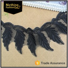 2016 Black POLYESTER lace fabric embroidery lace trim yard and lace fabric trimming for dress NLC-093