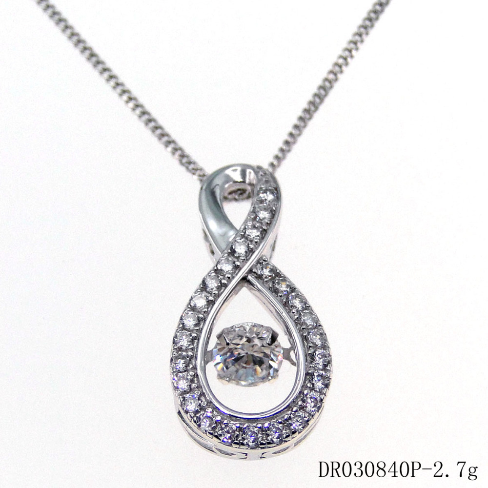 100% 925 Sterling Silver Dancing Stone Charm Pendant Necklace Cheap Silver Jewelry DR030852P