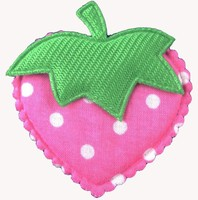 Satin dots Strawberry padded applique