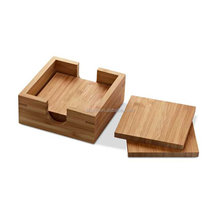 Wholesale Healthy Square Bamboo Coasters For Tea & Coffee Cups, Mugs, Beverages, Glass Drink Mats Bamboo Tray with Holder Hot