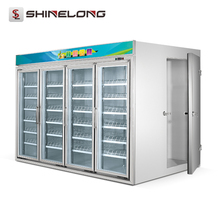 Professional Heavy Duty Supermarket Display Refrigeration Equipment 4 Doors Split Type Back-add Refrigerator Showcase