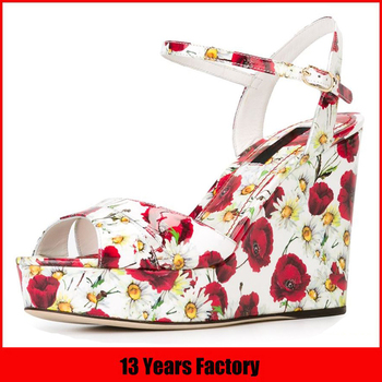Good quality summer hot sale exquisite printing flowers upper 2016 new style high heel designer wedges shoes and sandals