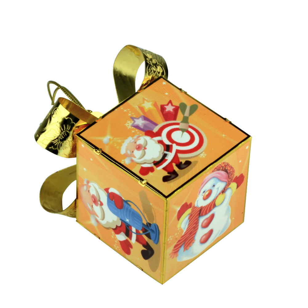 Full Color Printing Cartoon Hanging Metal Ornament Xmas Gift Box