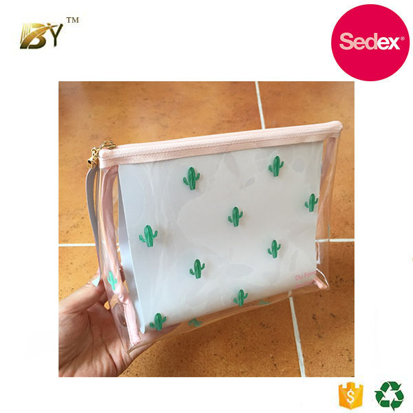 Sedex audit factory Cactus printing clear PVC pink Cosmetic Bag Custom Travel wash Bag