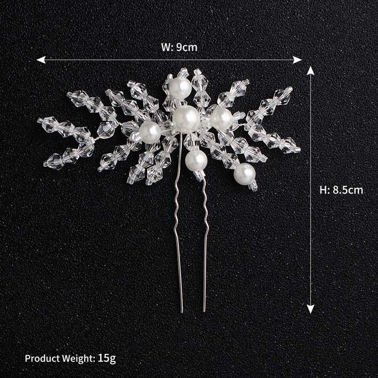 Handmade Bridal Pearl Flower Crystal Branch Hair Pin in Jewelry Wedding Accessory Women Hair Clip Dazzling Headpiece Pins