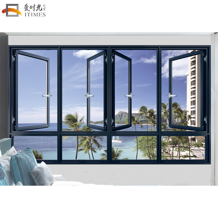 Custom aluminum 4 panels dinning room casement window beautiful color french grill design casement window for sale