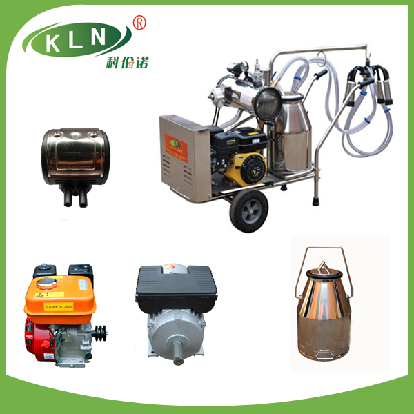 cow and goat type gasoline engine and electric milking machine with two buckets