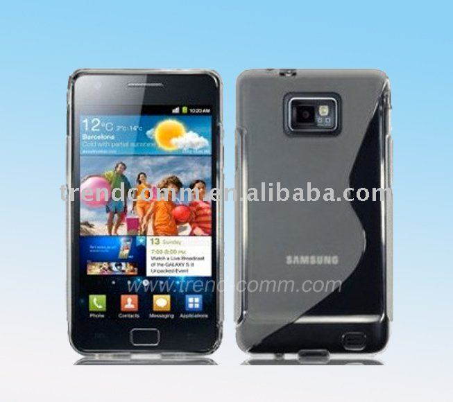 Clear S-Line Wave TPU Gel Skin Case Cover Pouch for Samsung Galaxy S 2 II i9100