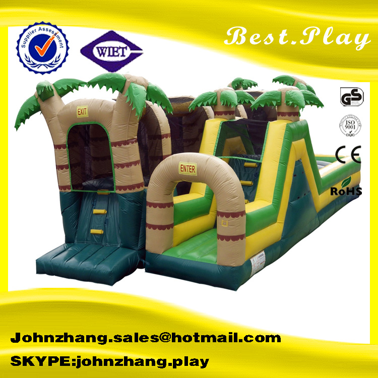 Lovely green jungle inflatable castle , inflatable jumping castle for children, inflatable obstacle palm