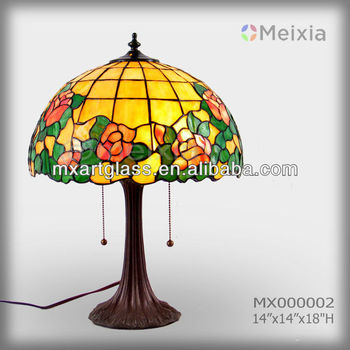 MX000002 wholesale stained glass rose tiffany lamp shade for home decoration piece