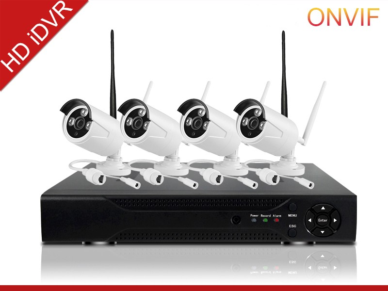 intelligent cheap home security camera systems Dual stream encoding hd 720p ip camera h.264 P2P 4ch network dvr kit