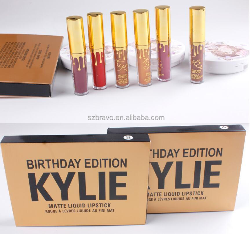 Holday gold kylie jenner lipstick birthday edition Collection 6 Mini Lipstick Lip Gloss Set Limited Edition