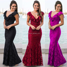 chinese manufacture wholesale OEM&ODM women's skirt V-neck beautiful lace long dress evening party bodycon dress