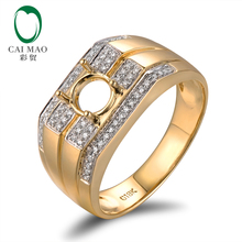 Elegant semi mount 14K white gold men's diamond ring