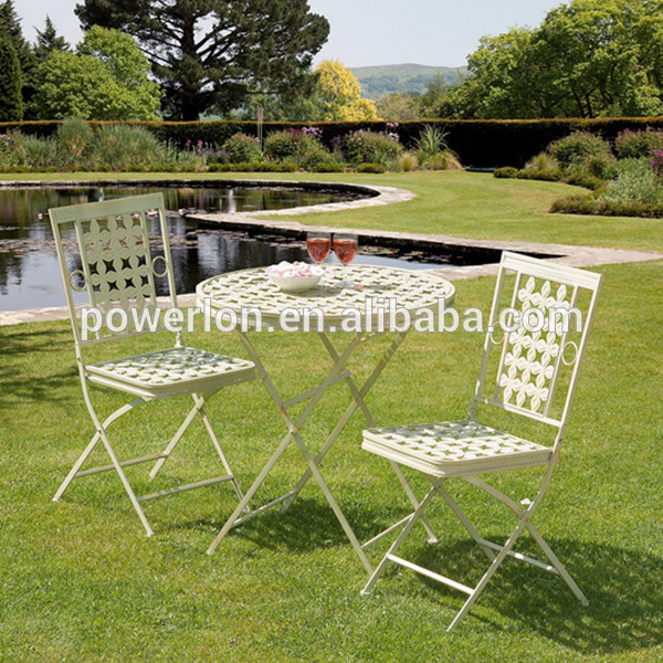 POWERLON Wrought Iron Patio Set Foldable Casual Outdoor Garden Furniture Table and Chair