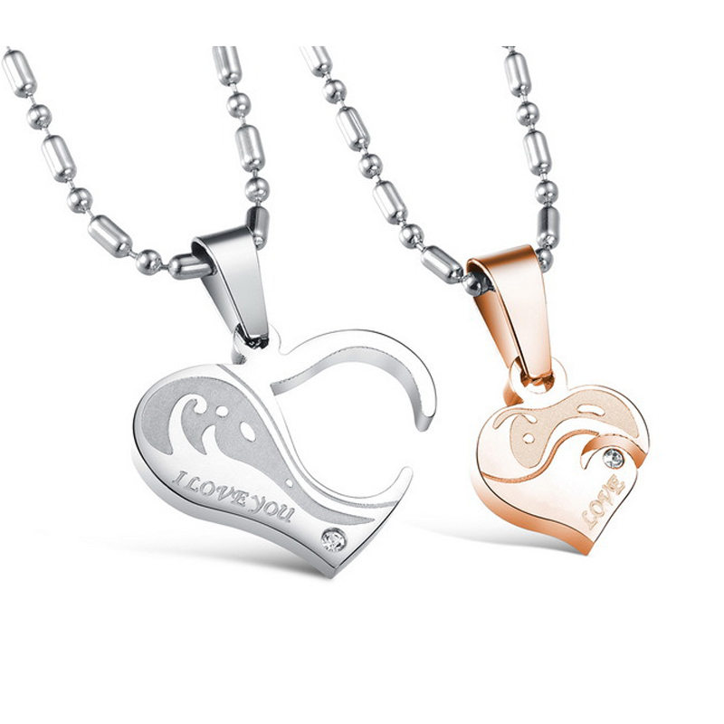 Fashion High Quality Men Women Jewelry Stainless Steel 2 in <strong>1</strong> Heart Pendant Couple Necklace