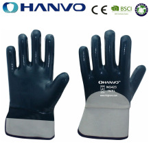 HANVO 3/4 Blue Nitrile Coated Cotton Jersey Liner Work Gloves Wholesale