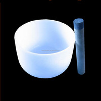 Chakra Tuned Quartz frosted singing bowl for sound healing