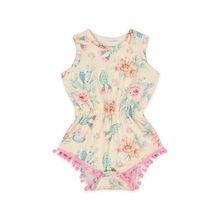 2018 New Arrival Sleeveless Pom Pom Rompers Baby Summer Fashion Design Print Beach Casual Clothing For Kids Jumpsuit