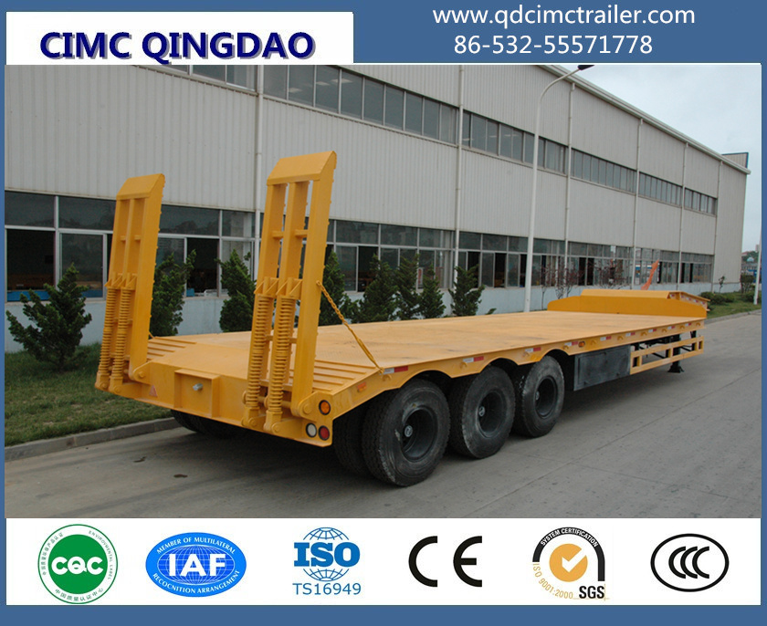 3 fuwa axles 80ton low bed trailer for loading excavator