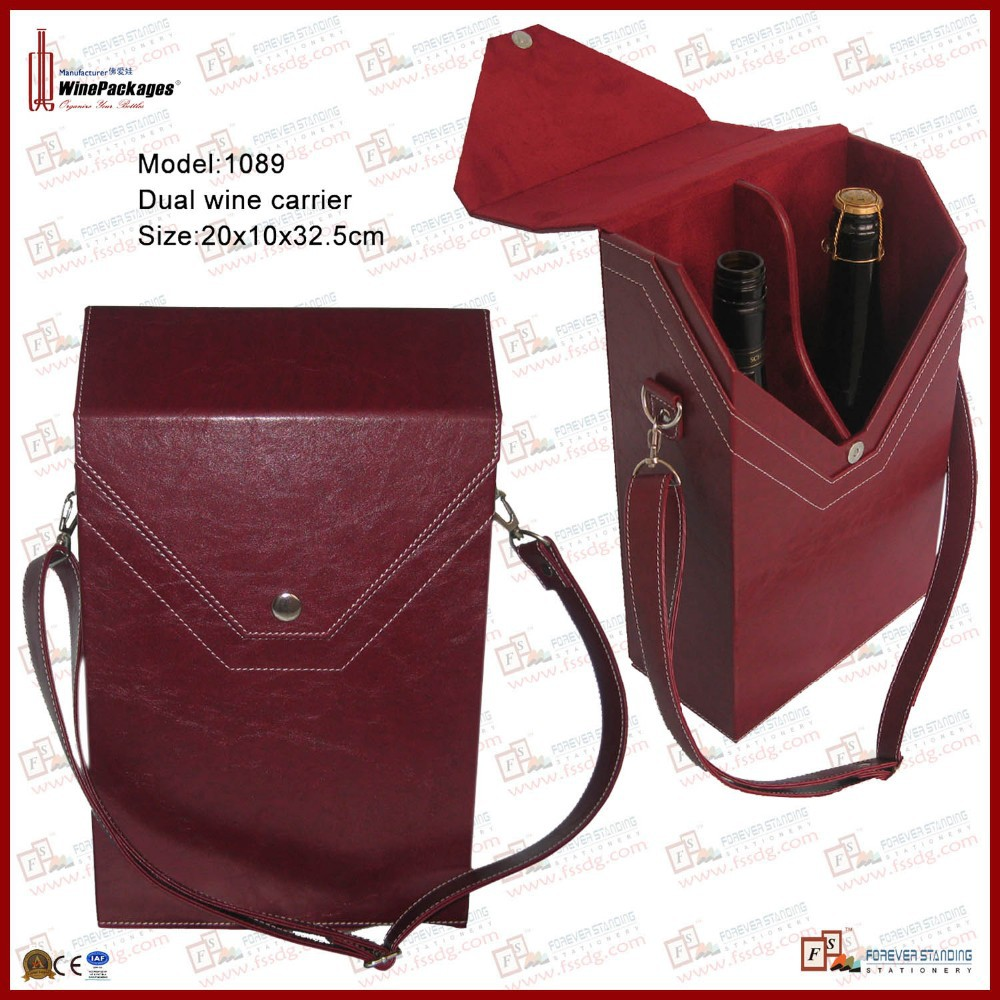 Dual leather wine champagne bottle holder shoulder carrier