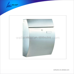 Stainless Steel Wall Mounted Mailbox Lockable Post Box with Newspaper Roll for Modern Houses Front Porch Residential
