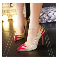 Wholesale alibaba red pu upper fashion ladies sexy stiletto high heel dress wedding shoes for women