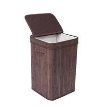 Home <strong>Furniture</strong> Decorative Foldable Easily Transport Durable Bamboo Square Laundry Hamper With Lid And Cloth Liner String Handles