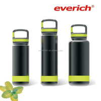 Everich Stainless steel wide mouth sports water bottle with carabiner lid