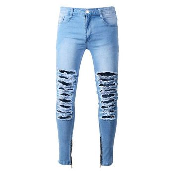 Men streetwear slim fit skinny damaged hole zipper denim jeans