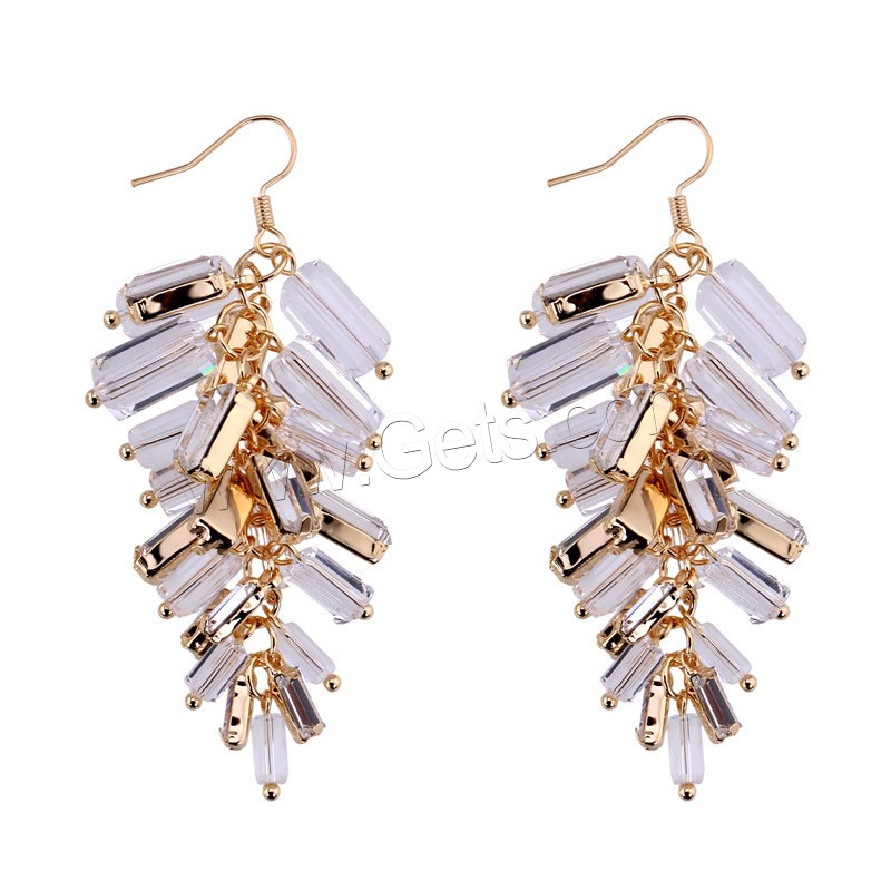 Zinc Alloy Crystal Drop Earring with Crystal iron earring hook rose gold color plated