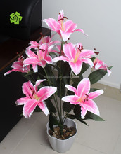 Office decorative floor standing artificial lily flower bonsai