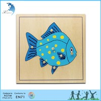 Wooden Montessori Materials,Educational Wooden Toys,Montessori Parts of a Fish Puzzle